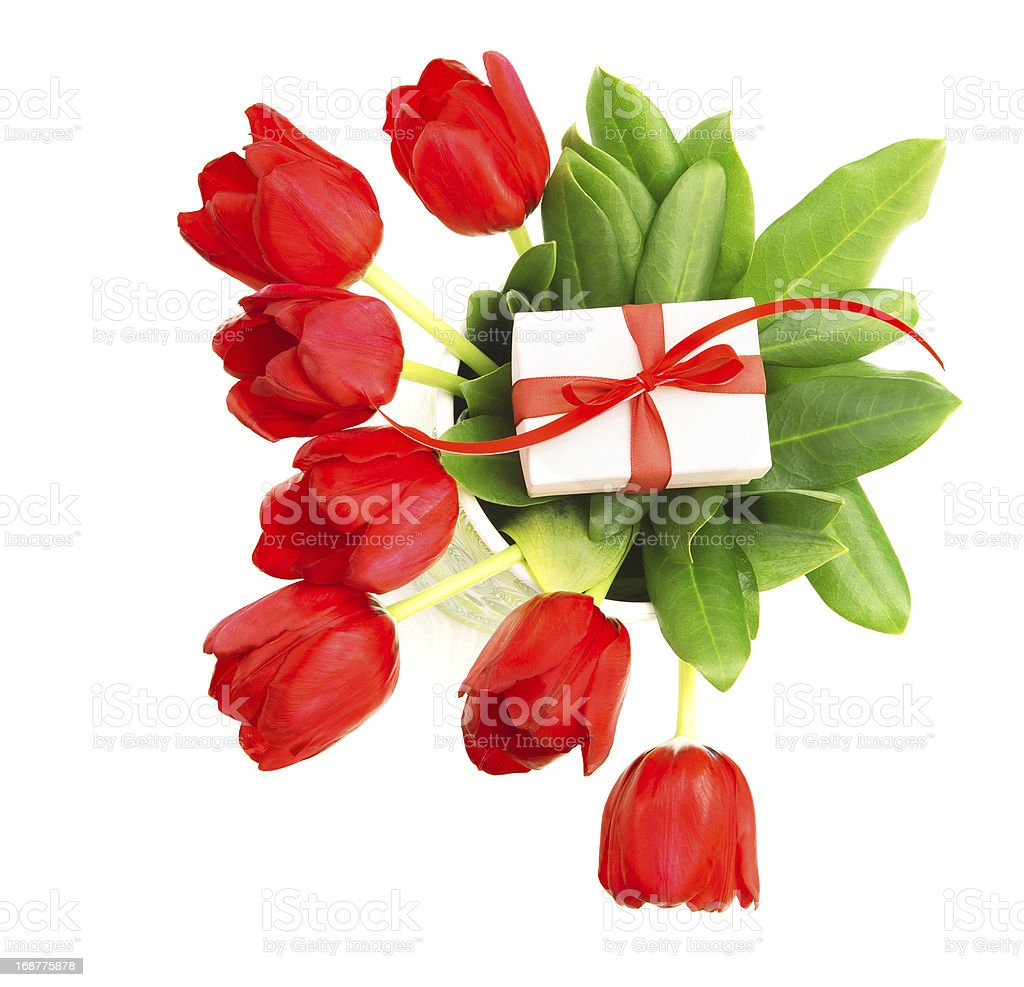Red tulips with giftbox royalty-free stock photo