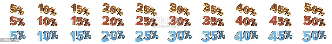 856345942istockphoto Red, Turquoise, Gold Percent Tags - isolated 639005158
