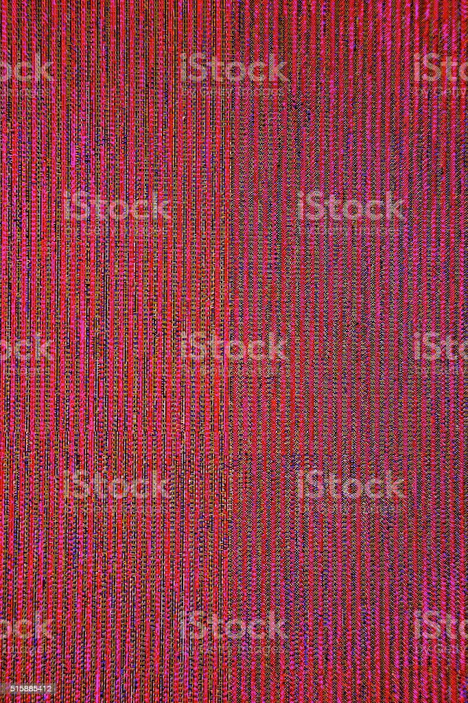 red TV LCD Television broadcast digital noise electronic signal failure stock photo