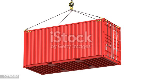 istock Red twenty feet cargo container hanging on a crane hook Isolated on white background. 3d rendering Illustration of a shipping contaner as a concept of import and export or moving 1207703868