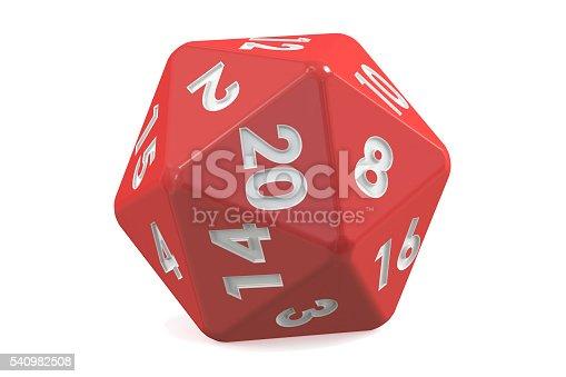 istock Red twenty-sided die, 20 sides. 3D rendering 540982508