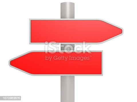 istock Red two direction road sign 1070983826