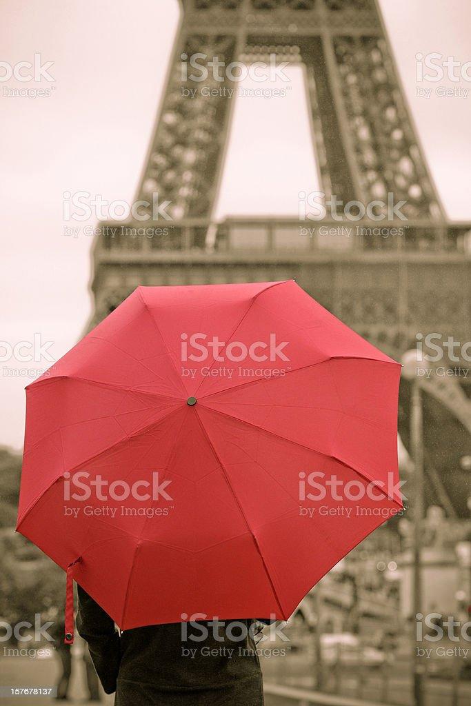 Red Umbrella and Paris - XLarge royalty-free stock photo
