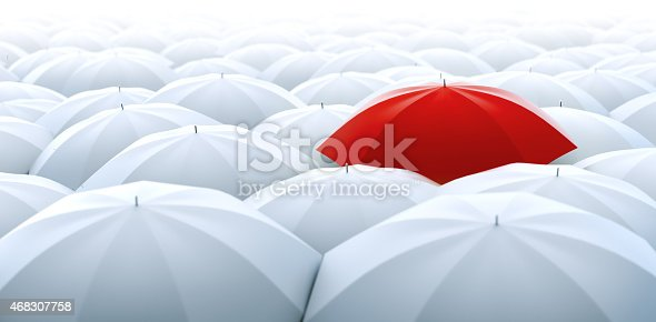 Improved, better and bigger size image of different, leader, best, unique, boss, individuality, original, special, worst, first, chief, champion and discrimination concept. Red umbrella in a row of white ones