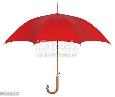 red umbrella, 3d rendering, isolated, white background
