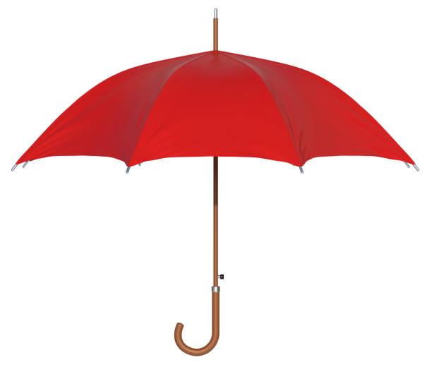 red umbrella isolated 3d rendering - chapéu imagens e fotografias de stock