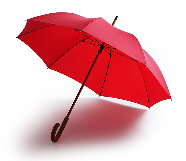 red umbrella isolated on a white background - umbrellas stock photos and pictures