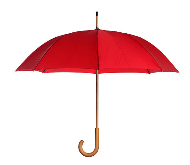 red umbrella isolated on white - umbrellas stock photos and pictures