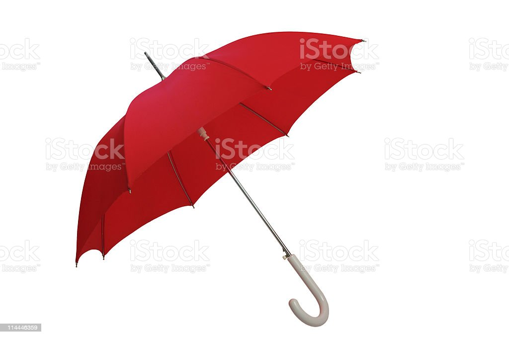 A red umbrella with a white handle  stock photo