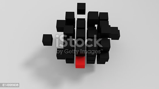 482650499istockphoto Red unique cube 3d render 614995608