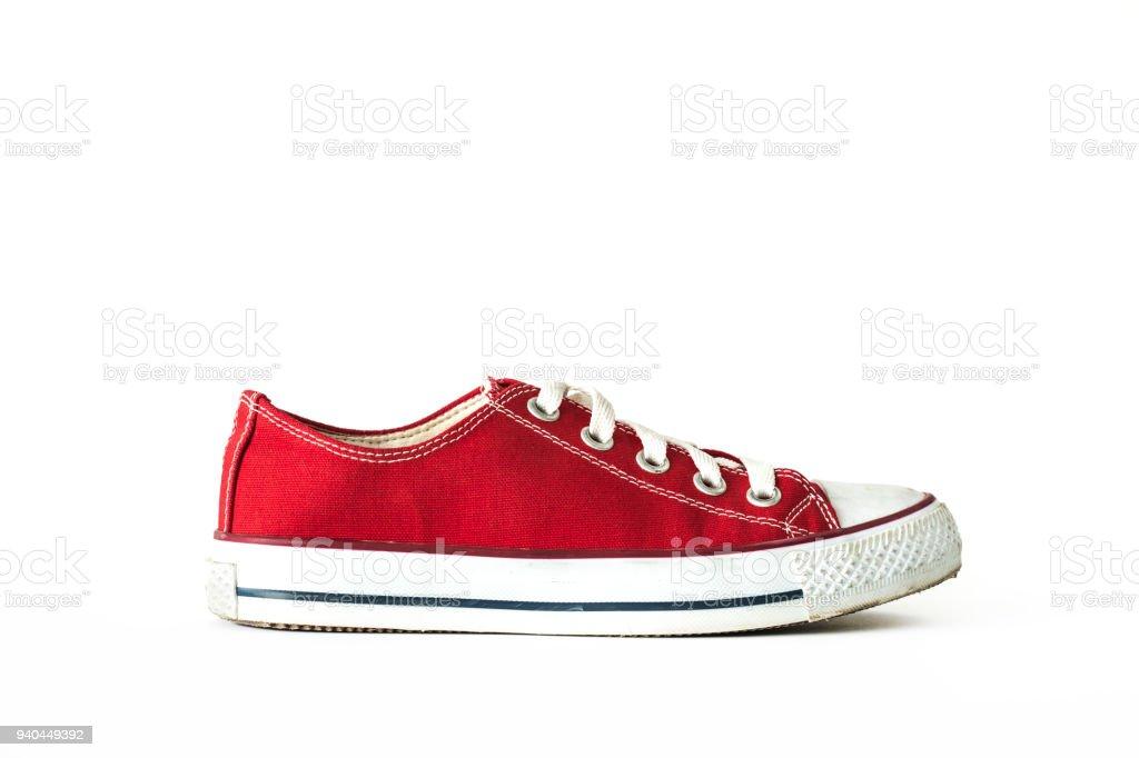 Rot unisex Sneaker Sportschuhe weißen Hintergrund isoliert – Foto