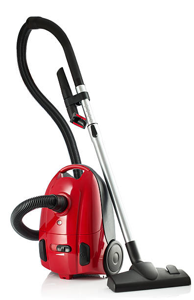 red vacuum cleaner isolated on white background - tapijtveger stockfoto's en -beelden