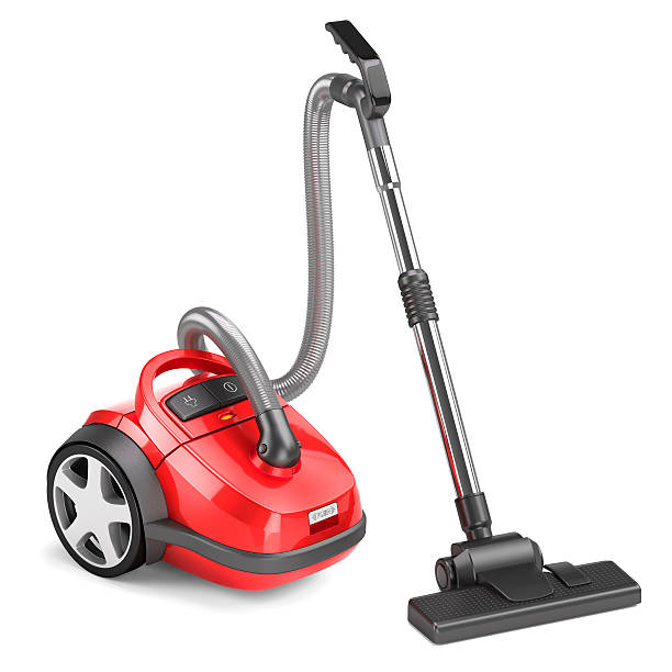 red vacuum cleaner isolated - tapijtveger stockfoto's en -beelden