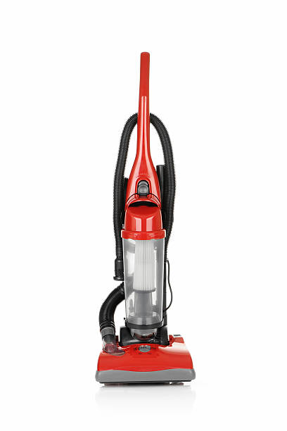 red vacuum cleaner used to improve your cleaning experience - stofzuiger stockfoto's en -beelden