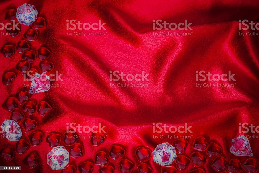 Red Valentine hearts and Diamonds on Satin Cloth (P) stock photo