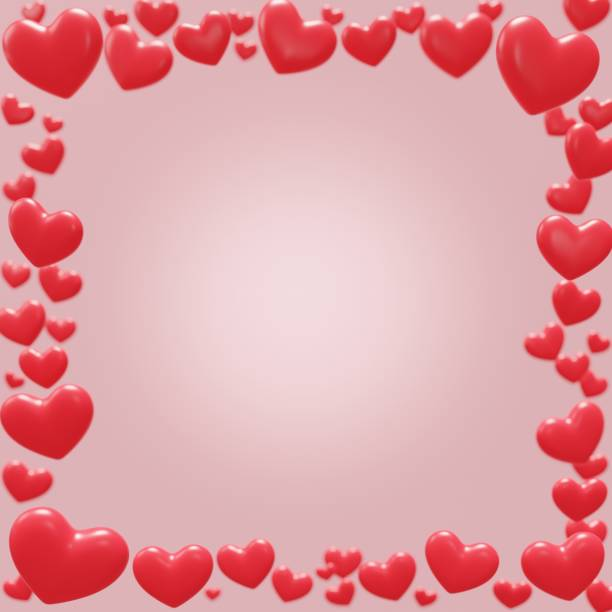 Red valentine hearts in trendy style on pink background. Abstract background with depth of field. Greeting card template. 3d illustration. Social media post design. stock photo