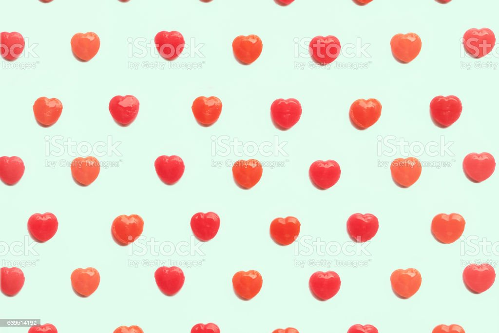 Red Valentines Day Heart Candy Pattern Green Pastel Color Background