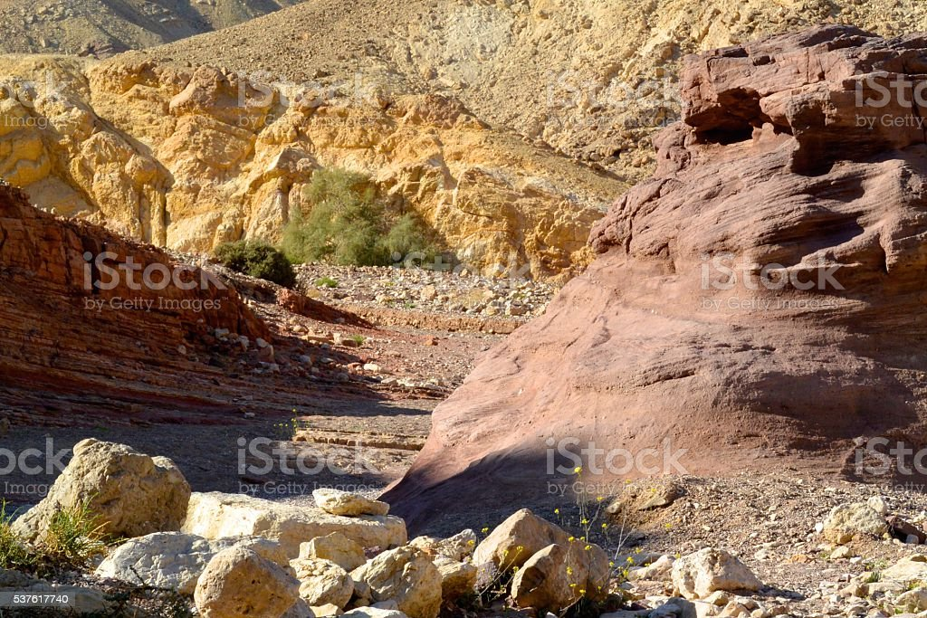 Red Valley in Wilderness of Zin, Israel stock photo