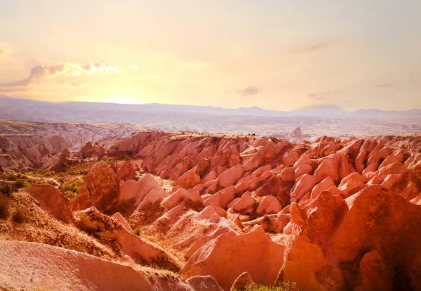 red valley sunset in capadocia stock photo