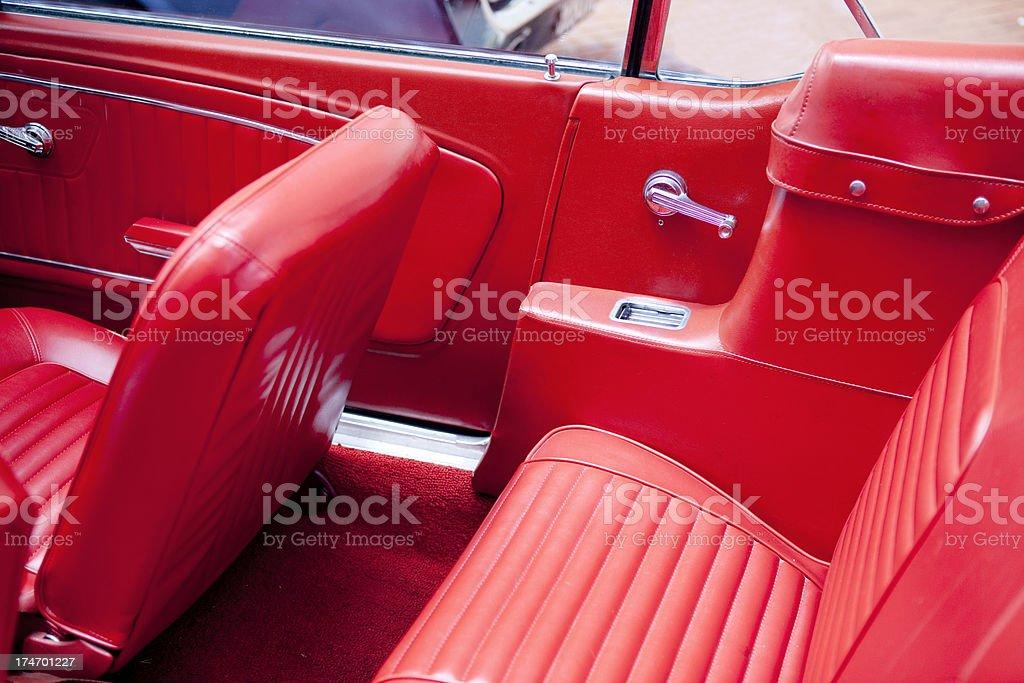 Red Vehicle Interior of Antique Auto