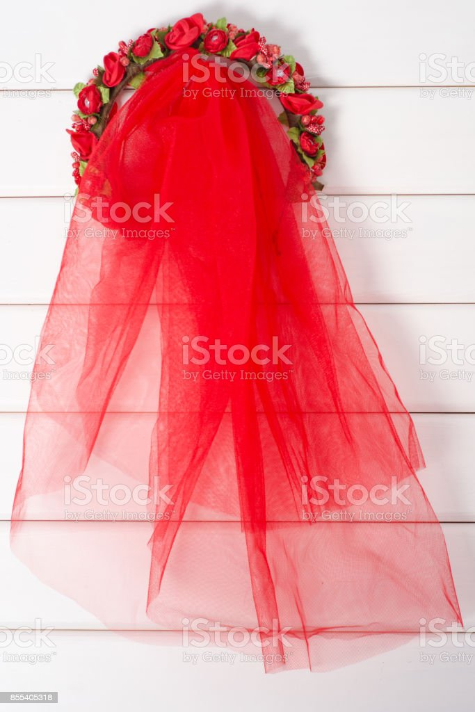 Red veil wreath stock photo