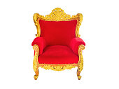 red velvet and gold armchair.