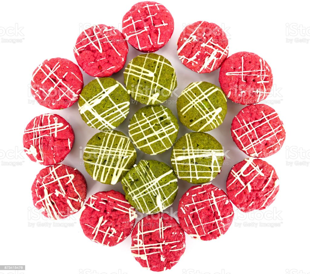 red velvet and green tea brownies stock photo