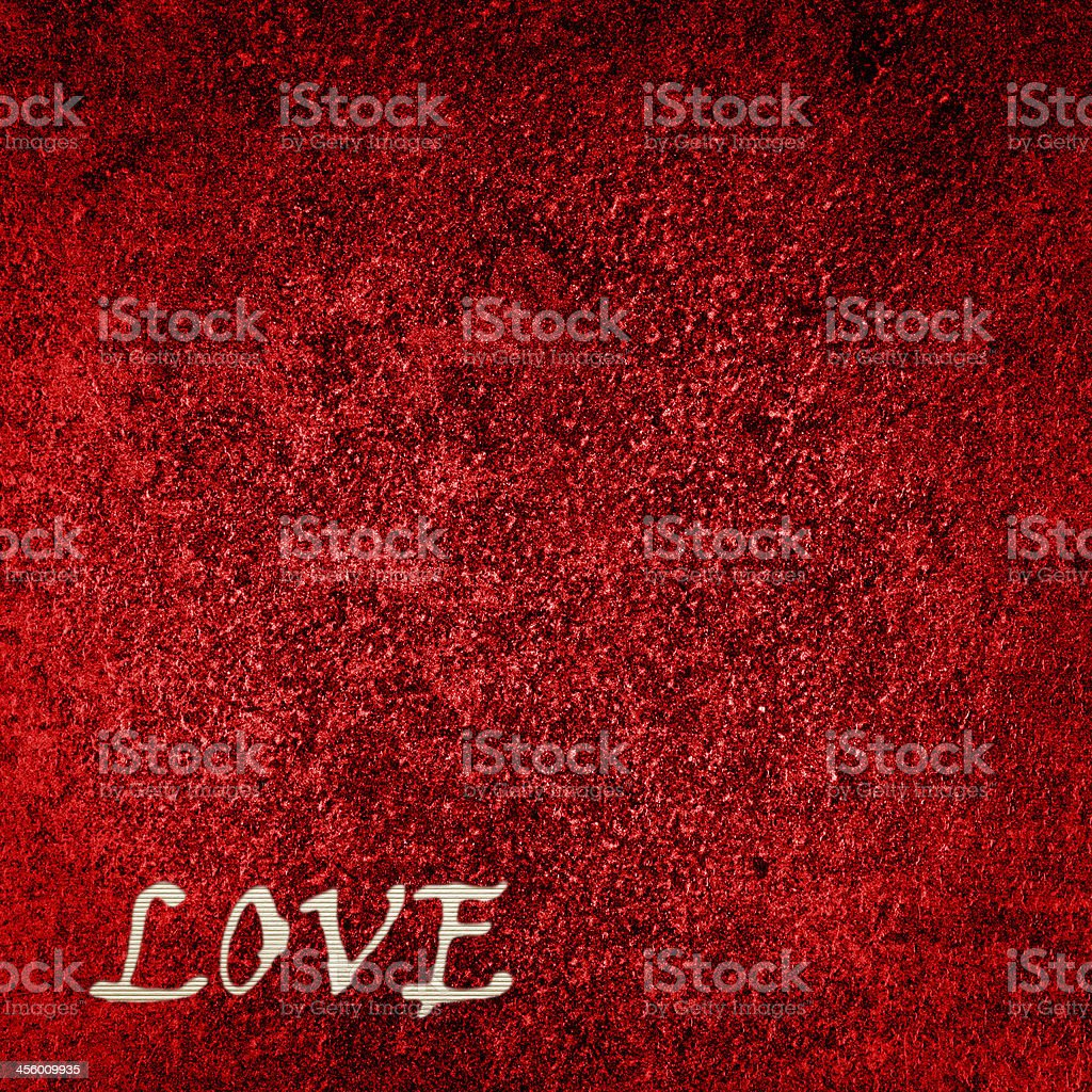 Red Velvet Background with word 'love' royalty-free stock photo