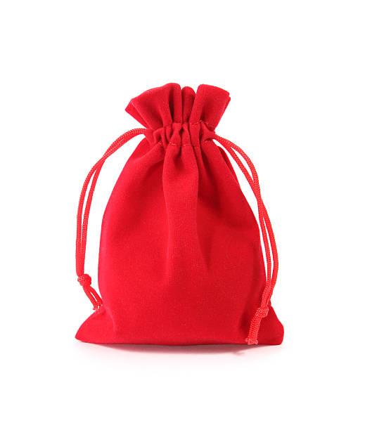 Red velvet bag isolated on white background stock photo