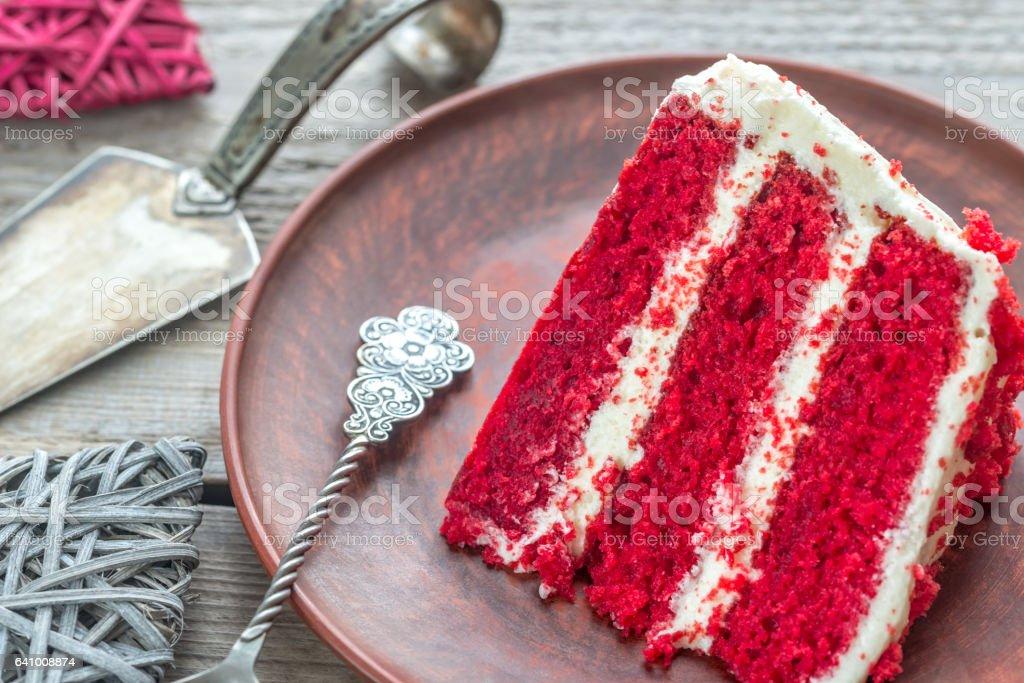 Red velvet cake on the plate stock photo