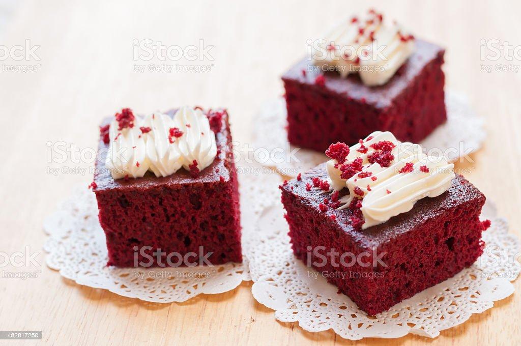Red velvet cakes on wooden board stock photo