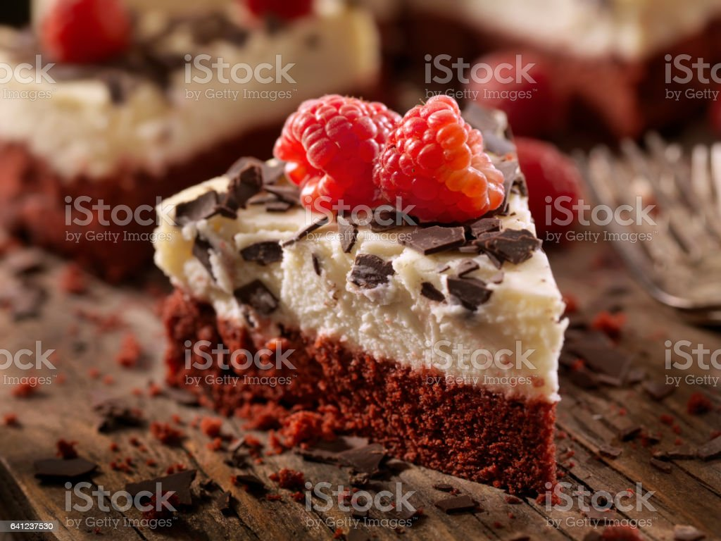 Red Velvet Cheesecake stock photo