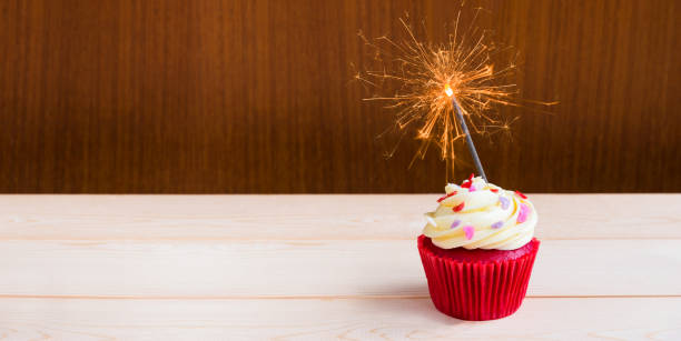 Top Slice Of Birthday Cake With Sparkler Pictures Images And Stock Photos
