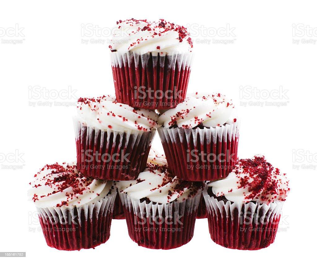 Red Velvet Cupcake Stack stock photo
