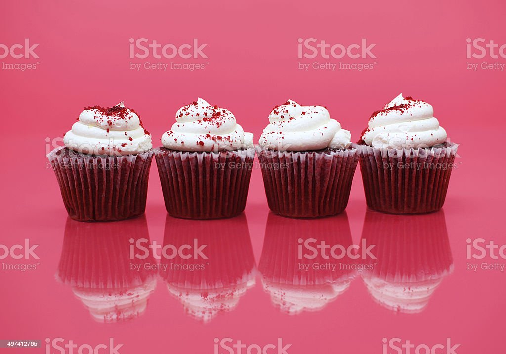 Red Velvet Cupcakes Isolated on Background stock photo