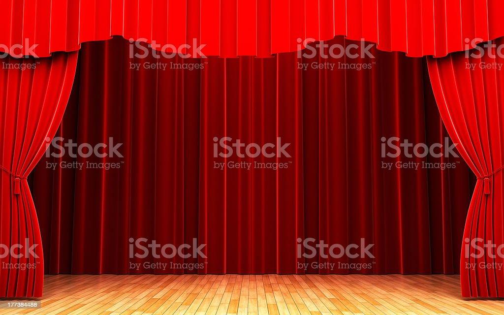 Red velvet curtain opening scene royalty-free stock photo