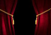 赤いベルベットのカーテンにタッセル