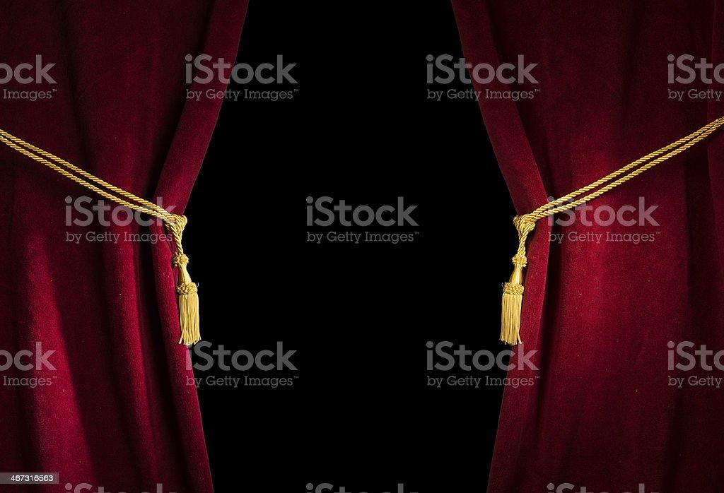 Red velvet curtain with tassel stock photo