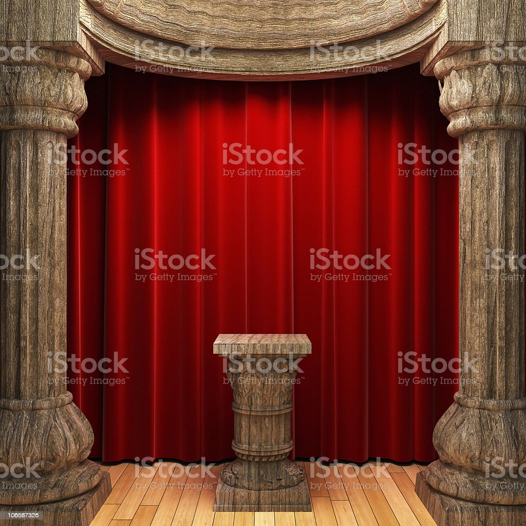 red velvet curtains, wood columns and Pedestal royalty-free stock photo