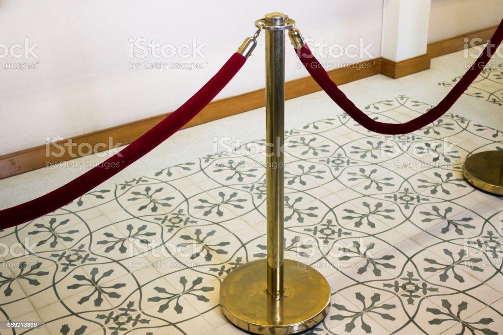 Red Velvet Rope Alloy Fence stock photo