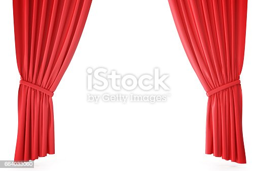 istock Red velvet stage curtains, scarlet theatre drapery. Silk classical curtains, red theater curtain. 3d rendering 664033060