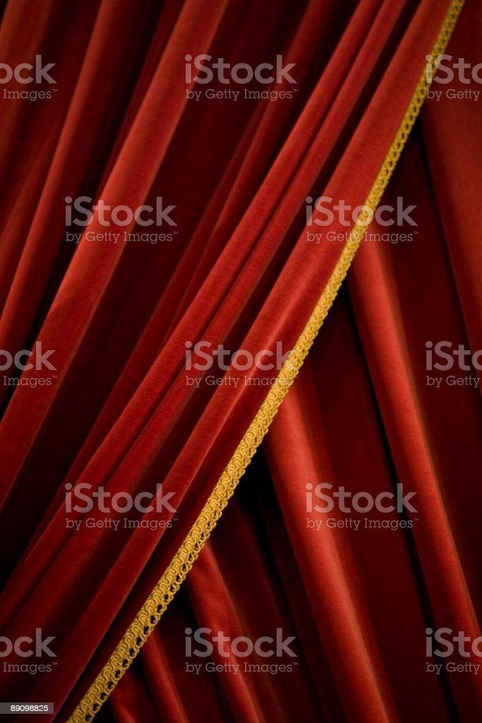 Red velvet stage theater curtains royalty-free stock photo