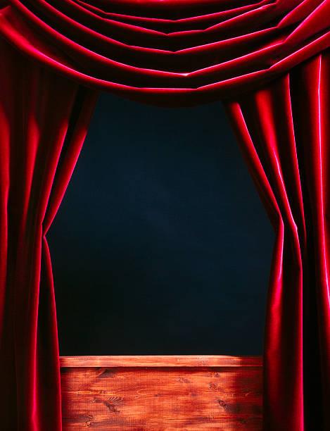 red velvet theater courtains - kasperltheater stock-fotos und bilder