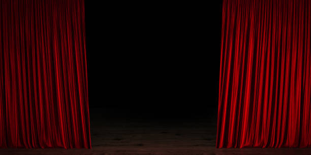 red velvet theater curtain opening - curtain stock pictures, royalty-free photos & images