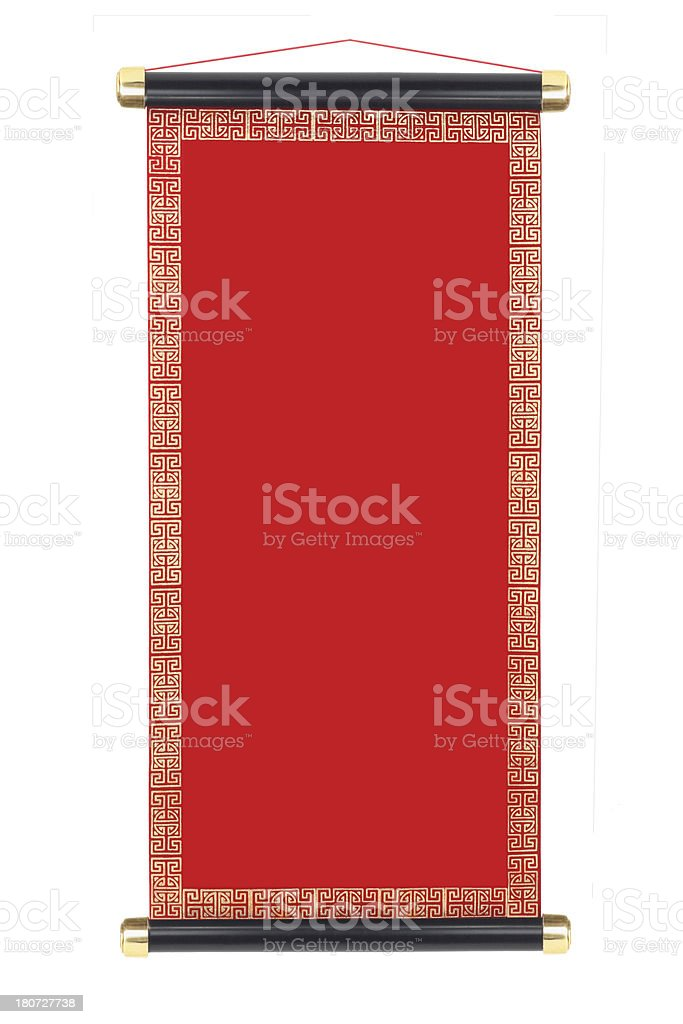 A red vertical blank Chinese scroll stock photo