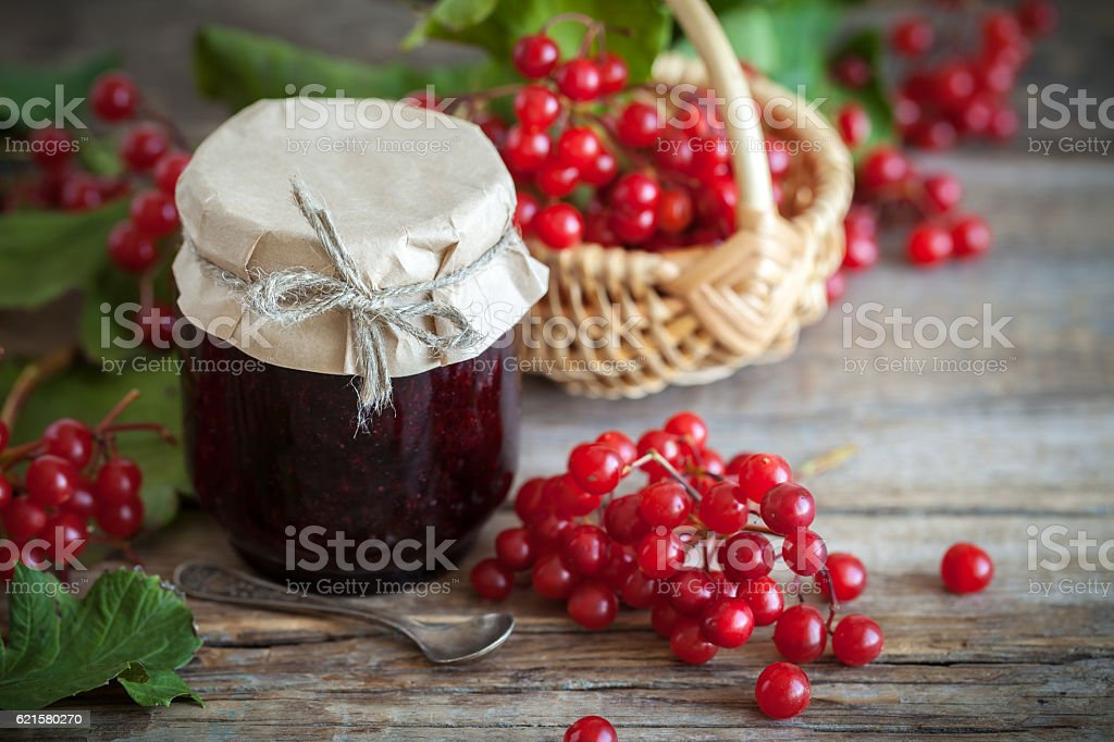 Red Viburnum jam and basket of red healthy berries. stock photo