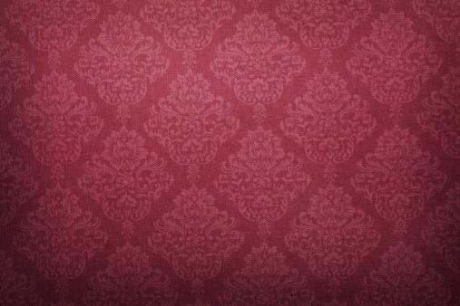 Red Victorian Pattern Linen Fabric Texture