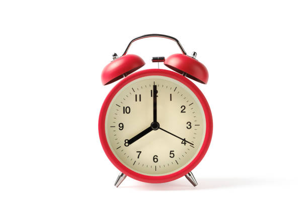 red vintage alarm clock on white background with clipping path - number 8 stock pictures, royalty-free photos & images