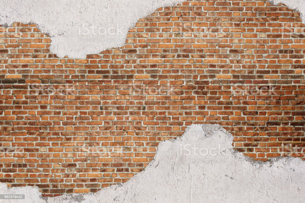 Red vintage brick plastered wall background stock photo