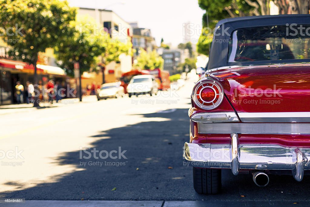 Red Vintage Car Detail on the Streets of San Francisco royalty-free stock photo